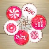 Uppsättning av sötsak- eller efterrättklistermärkear Arkivbilder