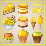 Uppsättning av sötsaker med citronen Arkivbilder