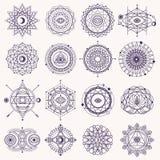 Uppsättning av sakralt geometritecken stock illustrationer