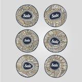 Uppsättning av Sale etiketter och klistermärkear Arkivfoton