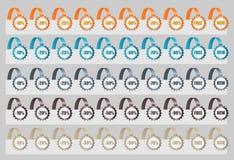 Uppsättning av Sale etiketter. Vektorillustration Arkivbild