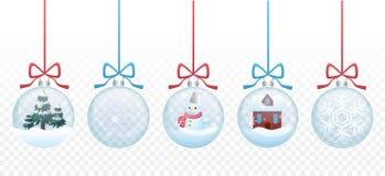 Uppsättning av samlingen för leksaker för glass boll för glad jul för vektor på den transperant alfabetiskbakgrunden royaltyfri illustrationer