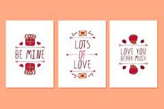 Uppsättning av Sankt kort för hälsning för valentindag hand drog Royaltyfria Bilder