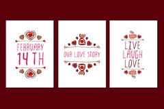 Uppsättning av Sankt kort för hälsning för valentindag hand drog Arkivfoto