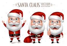 Uppsättning av Santa Claus Cartoon Character för jul Royaltyfri Bild