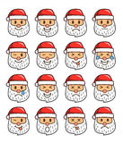 Uppsättning av Santa Claus Emoticons Santa Claus Emoji stock illustrationer