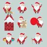 Uppsättning av Santa Claus på jul royaltyfri illustrationer