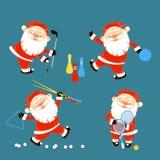Uppsättning av Santa Claus som spelar sportlekar royaltyfri illustrationer