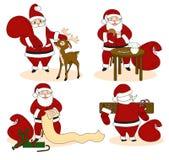 Uppsättning av Santa Clauses som är klar för jul royaltyfri illustrationer