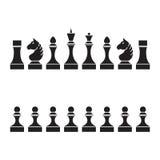 Uppsättning av schackstycken (schackpjäser), Vektor Illustrationer