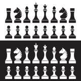 Uppsättning av schackstycken (schackpjäser), Stock Illustrationer