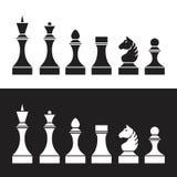 Uppsättning av schackstycken (schackpjäser), Royaltyfri Illustrationer