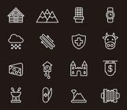 Uppsättning av Schweiz symboler Royaltyfria Bilder
