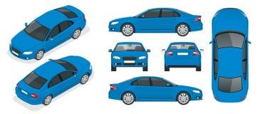 Uppsättning av Sedanbilar Isolerad bil, mall för att brännmärka och annonsering Framdel-, baksida-, för sida, bästa och isometry  stock illustrationer