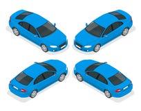 Uppsättning av Sedanbilar Isolerad bil, mall för att brännmärka och annonsering Isometrisk framdel och baksida vektor illustrationer