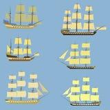 Uppsättning av seglingskepp Arkivbild