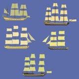 Uppsättning av seglingskepp Arkivfoto