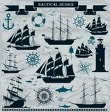 Uppsättning av seglingskepp med nautiska beståndsdelar Royaltyfri Bild