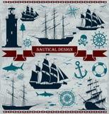Uppsättning av seglingskepp med nautiska designbeståndsdelar Arkivbilder
