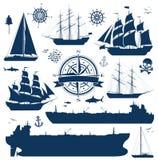 Uppsättning av seglingskepp, yachter och tankfartyg royaltyfri illustrationer