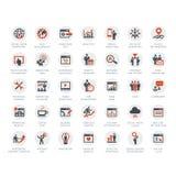 Uppsättning av SEO och marknadsföringssymboler stock illustrationer
