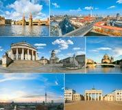 Uppsättning av sex bilder från Berlin Landmarks arkivbild