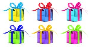Uppsättning av sex glansiga gåva för olik färg som slås in gåvor Arkivbild