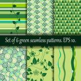 Uppsättning av sex gröna sömlösa modeller Royaltyfria Bilder