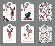 Uppsättning av sex gulliga etiketter för ferier för nytt år och jul stock illustrationer
