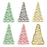 Uppsättning av sex julgranar Arkivfoton