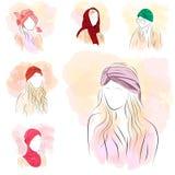 Uppsättning av sex konturkvinna i turban Royaltyfri Illustrationer