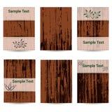 Uppsättning av sex kort Trä texturera placera text Arkivbilder