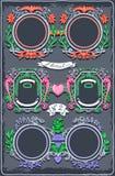 Uppsättning av sex kulöra girlander för tappningdiagram stock illustrationer