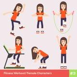 Uppsättning av sex kvinnliga tecken 1 för kondition stock illustrationer