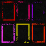 Uppsättning av sex ljusa färgrika rektangulära ram Grunge utformar Arkivbild