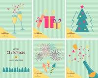 uppsättning av sex mallar av julkort Royaltyfri Fotografi