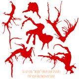 Uppsättning av sex röda blodfärgpulverfärgstänk Arkivfoton