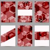 Uppsättning av sex reklamblad geometrisk modell Rött färga Royaltyfria Foton