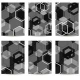 Uppsättning av sex reklamblad geometrisk modell svart grey Royaltyfria Foton