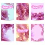 Uppsättning av sex reklamblad Molnmodell Mjuk rosa färgfärg Fotografering för Bildbyråer