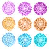 Uppsättning av sex runda ramar Rosa färger, blått och apelsin Arkivfoton