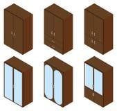 Uppsättning av sex skåp isometriskt Arkivfoto