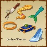 Uppsättning av sex specifika objekt för en riktig prinsessa vektor illustrationer