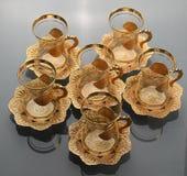 Uppsättning av sex tomma tulpan-formade kopp te Royaltyfri Foto