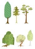 Uppsättning av sex träd royaltyfri illustrationer