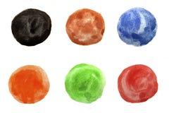 Uppsättning av sex vattenfärg målade cirklar Royaltyfria Foton