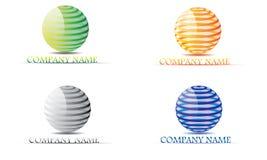Uppsättning av sfären, cirkel, logo, globalt som är abstrakt, affär, företag, korporation, oändlighet, uppsättning av den runda s Arkivfoto