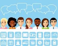 Uppsättning av shoppingsymbolen, avatar av online-kundsupporttjänstassistenter med hörlurar Royaltyfria Bilder
