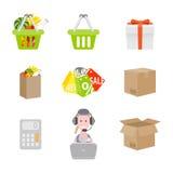 Uppsättning av shoppingsymboler Arkivbilder