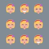Uppsättning av sinnesrörelser av den blonda flickan Arkivfoto